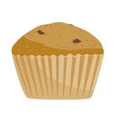 Retro cupcake silhouette with chocolate vector