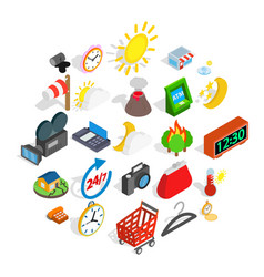 right time icons set isometric style vector image