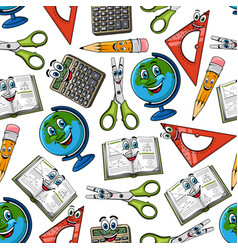 School supplies cartoon seamless pattern vector