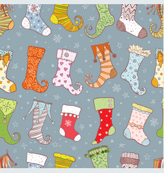 seamless background with christmas gift socks vector image
