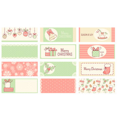 set christmas horizontal gift tag card badge vector image