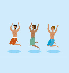 set men wearing bathing shorts and jumping to vector image