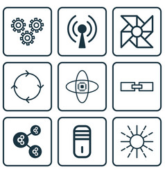 Set of 9 robotics icons includes related vector