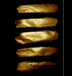 set of golden brushes on a black vector image