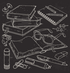 set stationery for school and vector image
