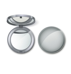 Silver Round Pocket Cosmetic Make up Small Mirror vector image