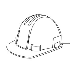 Single continuous line safety hard hat vector