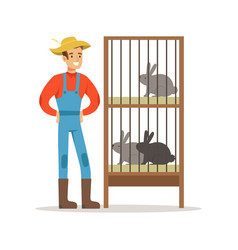 Smiling farmer standing next to rabbit cages vector