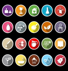 Spa treatment flat icons with long shadow vector image
