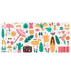 summer beach symbols cute summer vacation vector image