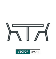 table and chair flat icon line style isolated on vector image
