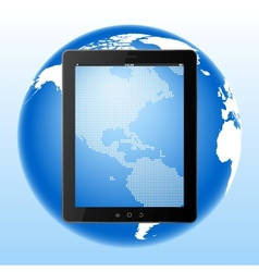 tablet computer and Earth vector image