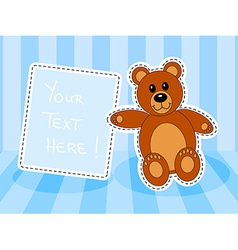 Teddy bear with blank sign in blue room vector image