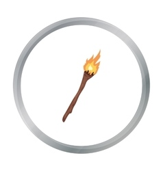 Torch icon in cartoon style isolated on white vector