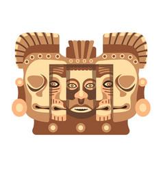 Totemic wooden sculpture mayan culture vector