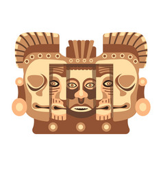 totemic wooden sculpture of mayan culture with vector image