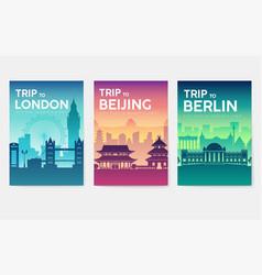 Travel information cards landscape template of vector