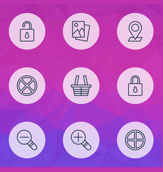 Web icons set with cancel check in close padlock vector