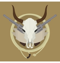 Wild west cow skull pistols ribbon lasso logo vector