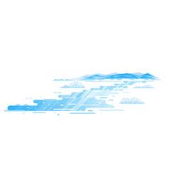 Winding frozen river flat style landscape vector