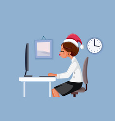 woman working at office on christmas vector image