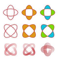 abstract circular linearrowand shape logo set vector image vector image
