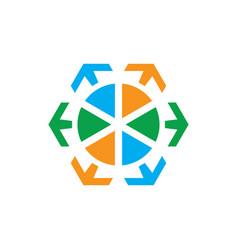circle arrow sign logo vector image vector image