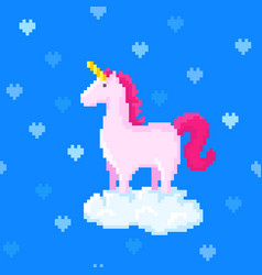 Cute pink unicorn stands on a cloud vector