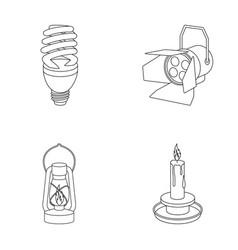 economy lamp searchlight kerosene lamp candle vector image vector image