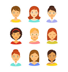 girl avatar icons set vector image vector image