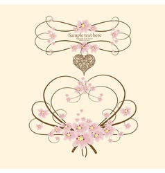 Greeting hanging heart vector image vector image