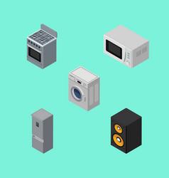 isometric device set of stove kitchen fridge vector image