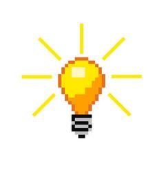 pixel light bulb vector image vector image