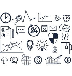 set of hand drawn business finance elements vector image