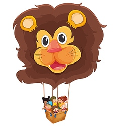 A lion floating balloon with kids vector image