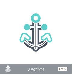 anchor outline icon summer marine vector image vector image