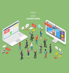 display vs native advertising isometric vector image