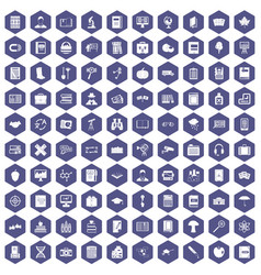 100 book icons hexagon purple vector image vector image
