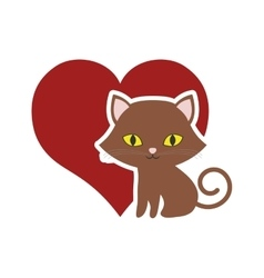 cat breed animal mammal red heart vector image vector image