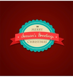Christmas vintage background with sticker and vector image vector image