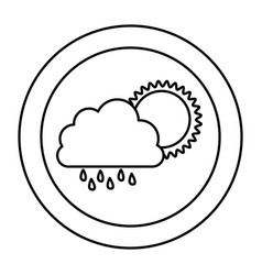 silhouette cloud rainning with sun icon vector image