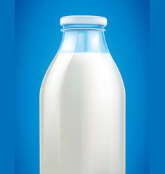 fresh milk in glass bottle on blue background vector image vector image