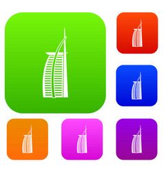 hotel burj al arab in united arab emirates set vector image
