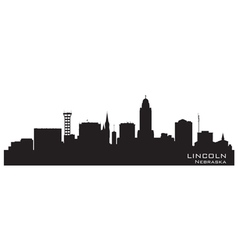 Lincoln Nebraska skyline Detailed silhouette vector image vector image