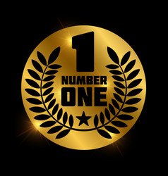 number one retro label on shiny golden circle vector image