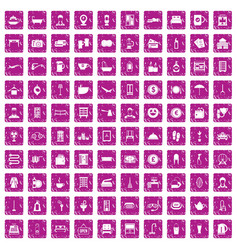 100 inn icons set grunge pink vector