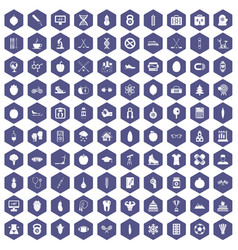 100 well person icons hexagon purple vector