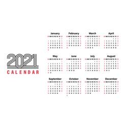 2021 calendar template simple design vector image