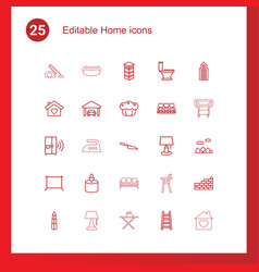 25 home icons vector image