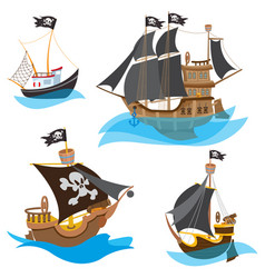 a set of depicting various types of ships pirate vector image